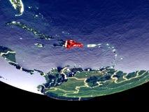 多米尼加共和国在从空间的晚上 免版税图库摄影