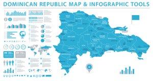 多米尼加共和国地图-信息图表传染媒介例证 向量例证