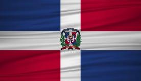 多米尼加共和国旗子传染媒介 导航多米尼加共和国blowig旗子在风的 库存例证
