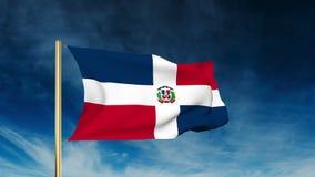 多米尼加共和国旗子滑子样式 挥动  股票录像
