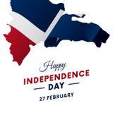 多米尼加共和国独立日庆祝横幅或海报  多米尼加共和国的映射共和国 挥动的标志 也corel凹道例证向量 皇族释放例证