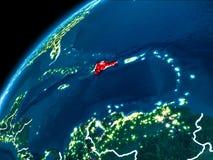 多米尼加共和国的地图在晚上 免版税库存图片