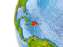 多米尼加共和国的地图地球模型的  免版税库存照片