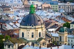 多米尼加共和国的教会和修道院圆顶在利沃夫州 免版税库存照片