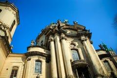 多米尼加共和国的教会的特写镜头零件在利沃夫州市 免版税库存图片