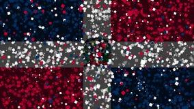 多米尼加共和国的旗子庆祝的生气蓬勃的背景从烟花出现 向量例证