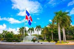 多米尼加共和国的旗子,蓬塔Cana 库存图片