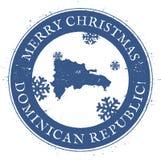 多米尼加共和国的映射共和国 葡萄酒圣诞快乐 库存例证