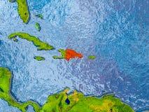 多米尼加共和国的映射共和国 库存图片
