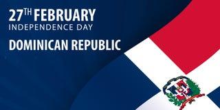 多米尼加共和国的独立日 旗子和爱国横幅 向量例证