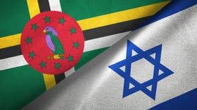 多米尼加和以色列两旗子纺织品布料,织品纹理 免版税图库摄影
