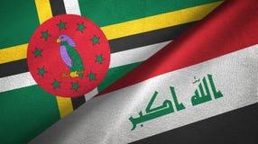 多米尼加和伊拉克两旗子纺织品布料 免版税库存图片