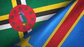 多米尼加和刚果民主共和国两旗子纺织品布料 库存照片