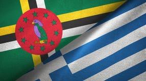多米尼加和希腊两旗子纺织品布料,织品纹理 库存图片
