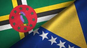 多米尼加和波黑两旗子纺织品布料,织品纹理 库存图片