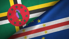 多米尼加和海角Cabo佛得岛两旗子纺织品布料,织品纹理 库存照片