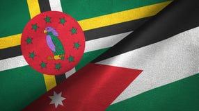 多米尼加和约旦两旗子纺织品布料,织品纹理 免版税图库摄影