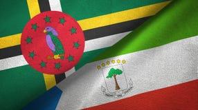 多米尼加和赤道几内亚两旗子纺织品布料,织品纹理 免版税图库摄影