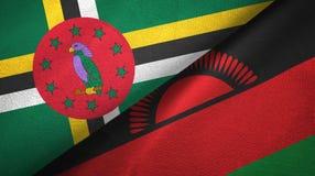 多米尼加和马拉维两旗子纺织品布料,织品纹理 库存图片