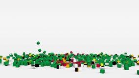 多米尼加的旗子从3d立方体创造了在慢动作 股票视频