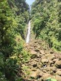 多米尼加水的瀑布远足 免版税库存图片
