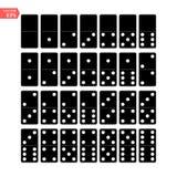 多米诺全套传染媒介现实例证 黑色颜色 在白色隔绝的经典比赛多米诺骨头 顶视图 为 库存图片