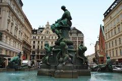多纳喷泉(Donnerbrunnen)在Neuer Markt在维也纳,澳大利亚 免版税库存图片