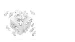 多维数据集被分解的难题 免版税库存照片