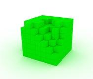 多维数据集被毁坏的绿色 免版税库存照片