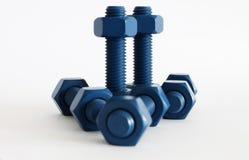 多缩木胶螺栓和坚果在蓝色用PTFE涂 免版税库存图片