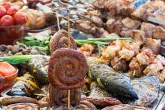 多脂食物丰盈  狂欢吃的概念 免版税库存图片