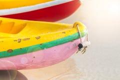 多色划艇或海在与拷贝空间的海滩划皮船 图库摄影