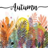 多色时髦热带秋天背景,异乎寻常的叶子 导航植物的例证,巨大设计元素为 库存照片