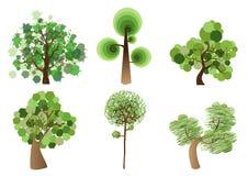 多色树集合 向量例证