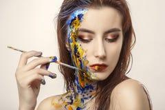 多色油漆构成 库存照片