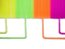 多色的塑料吸管 管道版本 免版税图库摄影