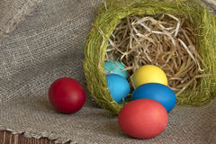 多色的复活节彩蛋 免版税库存图片