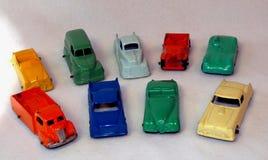 多色的微型玩具汽车停车场 库存图片