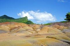 多色的沙子, Chamarel毛里求斯 免版税库存图片