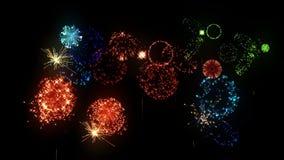 多色的烟花当假日背景新年、圣诞节或者其他庆祝 多彩多姿的爆竹 股票视频