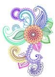 多色的种族花卉艺术 向量例证