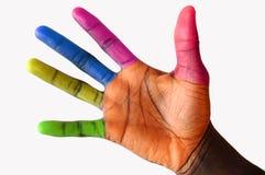 多色的被开化的手指 免版税图库摄影