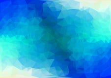 多色蓝色几何三角低多样式梯度例证图表背景 免版税库存图片