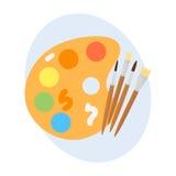 多色水彩油漆箱子传染媒介例证图画容器教育学校和爱好用工具加工创造性 免版税库存图片