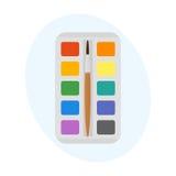 多色水彩油漆箱子传染媒介例证图画容器教育学校和爱好用工具加工创造性 库存照片