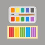 多色水彩油漆箱子和彩色塑泥导航例证图画容器教育学校和爱好工具 免版税库存图片
