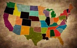 多色Grunge美国映射 免版税图库摄影
