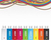 多色USB的闪存 免版税图库摄影