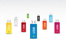 多色USB的闪存 库存图片
