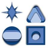 多蓝色色的商标想法 图库摄影